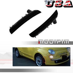 Black Lens Front Bumper Front Side Marker Light Housings Kit  For 12-19 Fiat 500