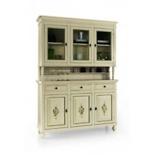 Glass Cabinet 3 Doors (Base + Lifting Up) White Decorated