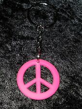 Lovely Neon Pink Peace Sign/Symbol Keyring / Bag Charm, Great Gift