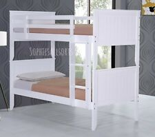 Ireland White Wooden Shaker Style Bunk Bed Frame 3ft Single Children Kids Beds