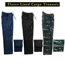 MENS FLEECE LINED CARGO BOTTOMS WINTER ELASTICATED WORK TROUSERS COMBAT PANTS