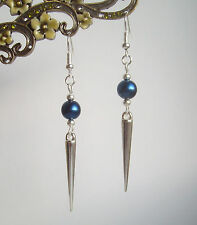 Royal Blue Pearl Bead Silver Spike Long Dangly Drop Earrings