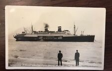 1941 SS Manhattan Grounded off the Coast Palm Beach Florida RPPC Postcard