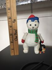 Wooden Jointed Polar Bear And Penguin Holding Hands Christmas Ornament