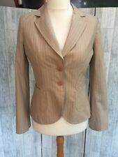 Tara Jarmon Fitted Cotton Beige Striped Jacket Sz12