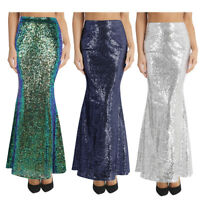 Womens Ladies Sequins Mermaid Skirt Long Maxi Skirts Party Evening Bodycon Dress