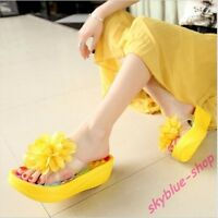 Womens New Open Toe Shake Shoes BOHO Floral Wedge Heel sBea ch Sandals Slippers#