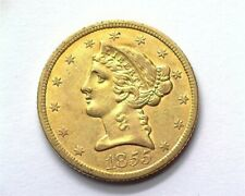 1855 LIBERTY HEAD $5 GOLD NEARLY UNCIRCULATED+ RARE THIS NICE!!