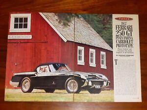 FERRARI MAGAZINE ARTICLE 1957 250 GT PININFARINA CABRIOLET PROTOTYPE