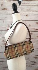 Authentic Burberry Shoulder Bag Purse Nova Check Horse Logo Brown Leather EUC