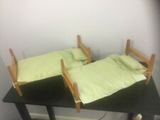 """Lot Of 2 Doll Beds Convertible Bunk Bed Wood Frame Fits 18"""" And Smaller Dolls"""