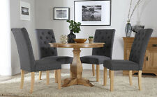 Cavendish Round Oak Dining Table and 4 Fabric Chairs Set (Hatfield Slate)