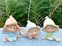 Home Interiors Pixie Flower Fairy Fairies Elves SET of 3 Porcelain CUTE ❤️sj8j