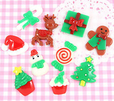 6 x Cute Random CHRISTMAS MIX Flatback Cabochon Embellishment Kawaii Craft Deco