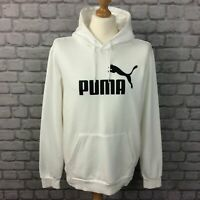 PUMA MENS CORE LOGO WHITE OVERHEAD HOODIE HOODY HOODED TOP SWEATSHIRT RRP £49