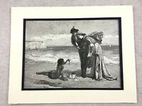 1875 Antico Stampa Spiaggia Landscape Treasure Trove Vittoriano, Art