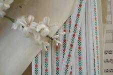"8y Vintage French 7/16"" White Orange Green Flowers Floral Jacquard Ribbon Trim"