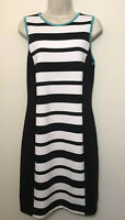 NWT Nicole Miller Large A-Line Dress Black White Stripe Sleeveless Stretch $60