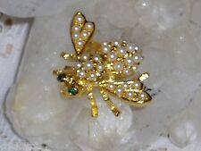 Gorgeous JOAN RIVERS Faux PEARL BEE Broochw/GREEN Crystal Eyes NEW VALENTINESDAY