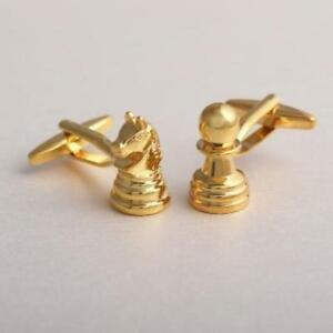 Chess Knight and Pawn High Finished Golden Tone Men's Cuff links Jewelry Gifts A