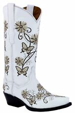 Womens White Leather Butterfly Flower Embroidery Western Cowgirl Boots Snip Toe
