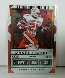 Barry Sanders 2020 Contenders Draft Picks Draft Ticket Green Foil Parallel