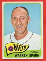 1965 Topps #205 Warren Spahn VG-VGEX+ WRINKLE HOF New York Mets FREE SHIPPING