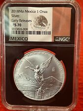 2018 Mexico 1 oz  Silver Onza Libertad NGC MS70 Early Releases Black Label