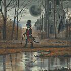 4x4 Halloween Black cat Ryta full moon haunted house gothic vintage style art