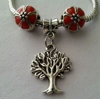 Tree of Life Dangle Charm Pendant Red Flowers Bead for European Style Bracelet