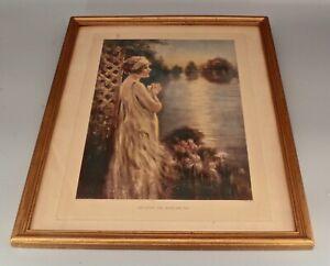 Framed Eda S Doench Original Art Print ~ Pretty Woman c.1920's Antique Romantic