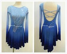Figure Skating Competition Dress Ice Skating Training Dress Girl Costume Blue