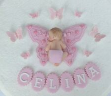 Edible personalised butterfly & baby Christening / 1st birthday cake topper pink