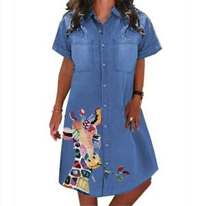 Womens Short Sleeve Denim Jeans Shirt Tunic Mini Dress Loose Casual Plus Size AU