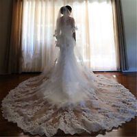 2018 Ivory/White Lace Applique Wedding Bridal Veils 3M Cathedral-Length+Comb