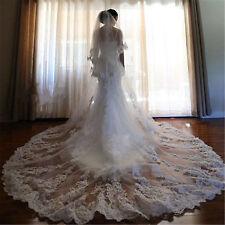 2018 White Lace Applique Wedding Veils 2T 3.5M Cathedral-Length Bridal Veil+Comb