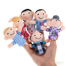 Baby Kids Plush Cloth Play Game Learn Story Family Finger Puppets Toys 6PCS