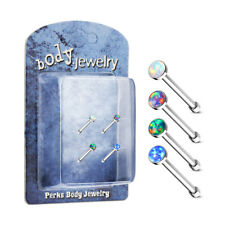 4 Pack of Opal Gem Nose Studs Bones Piercings Surgical Steel Pre Packaged
