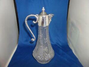 LOVELY ENGLISH CLARET JUG C.1950 FALSTAFF SHEFFIELD SILVER PLATE & GLASS