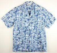 Pacific Legend Mens Medium Blue Short Sleeve Hawaiian Shirt Floral Made in USA