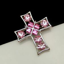 Vintage Cross Brooch Pin Bright Pink Rhinestones Open Silver Plated Pretty