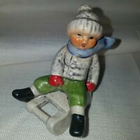 Goebel Porcelain Boy on Sled Mittens Vintage Figurine Collectible Authentic EUC