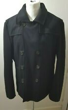 Mens Ted Baker Wool Pea Coat Black Size 5 - Large