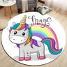 Cute Magic Unicorn Rainbow Rug Round Area Rug Bedroom Floor Carpet Kids Play Mat