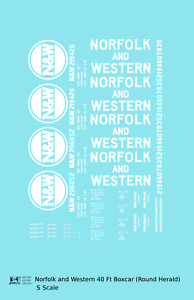 K4 S Decals Norfolk and Western 40 Ft Boxcar White Round Herald