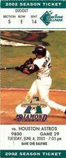 Ticket Baseball Arizona Diamondbacks 2002 - 6/4 - Houston Astros