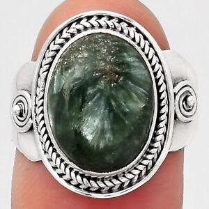 Natural Russian Seraphinite 925 Sterling Silver Ring s.7.5 Jewelry 3195