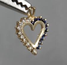Estate 14 Karat Yellow Gold Sapphire & Diamond Heart Pendant 14K J0745