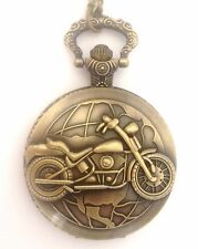 Reloj de mujer de bolsillo Fob Collar de motocicleta para hombre mitad Hunter Biker Harley Latón