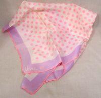Vintage Signed Vera Scarf Pink Polka Dots Lavender Border Ladybug Logo